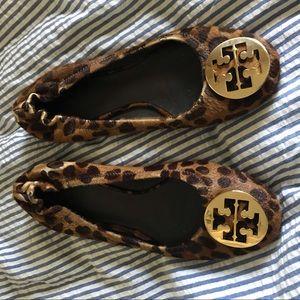 Tory Burch leopard haircalf reva ballet flats 81/2